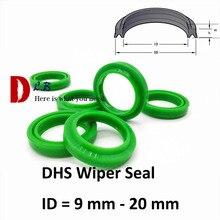 Уплотнитель стеклоочистителя DHS ID = 9 20 мм, пылезащитное кольцо, уплотнение с двойной губой, гидравлические цилиндрические детали, промышленный полиуретан (полиуретан), резина