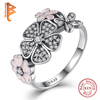 925 Sterling Silver Shimmering Bouquet Pink Enamel Clear CZ Cherry Blossom Daisy Flower Finger Rings For