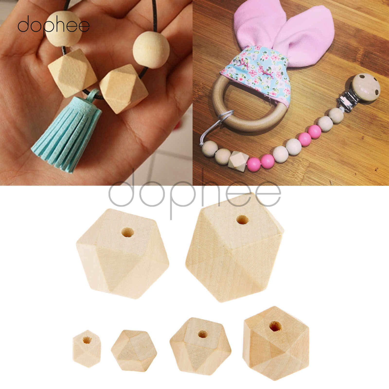 dophee 5-50pcs Natural Unfinished Wooden Geometric Beads Multi-Sized 10/12/14/20/25/30mm For Jewelry Necklace Making DIY