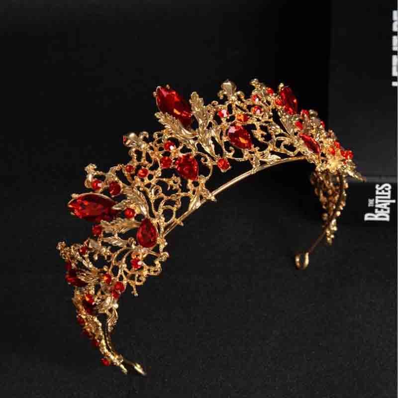 Тиары в стиле барокко для невесты, винтажные золотистые тиары с красными кристаллами, свадебные аксессуары для волос, корона для конкурса и ...