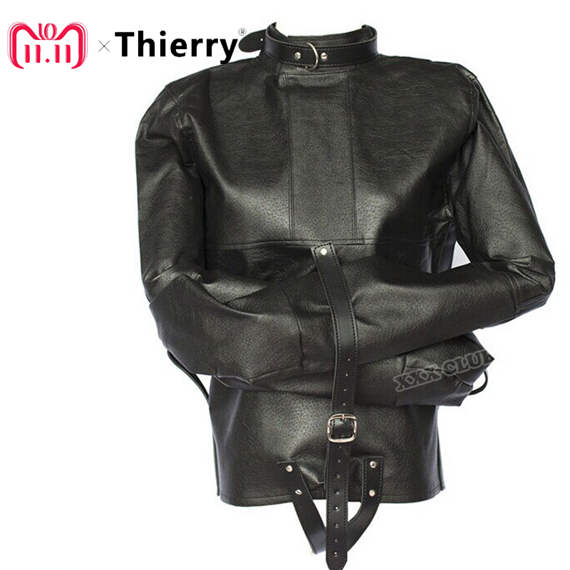 Thierry adult sex game pu Leather adjustable Bondage Jacket with Long Sleeves, Fetish restraint straitjacket Sex Toys For Couple vogue pu leather spliced color block hooded long sleeves hoodie for men