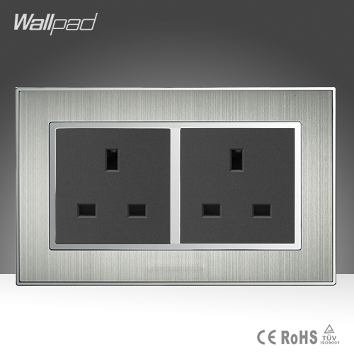 Luxury Double 13A Wall UK Socket Panel Satin Metal Frame 146 Standard 13A UK Wall Socket, Electric Outlet AC110-250V