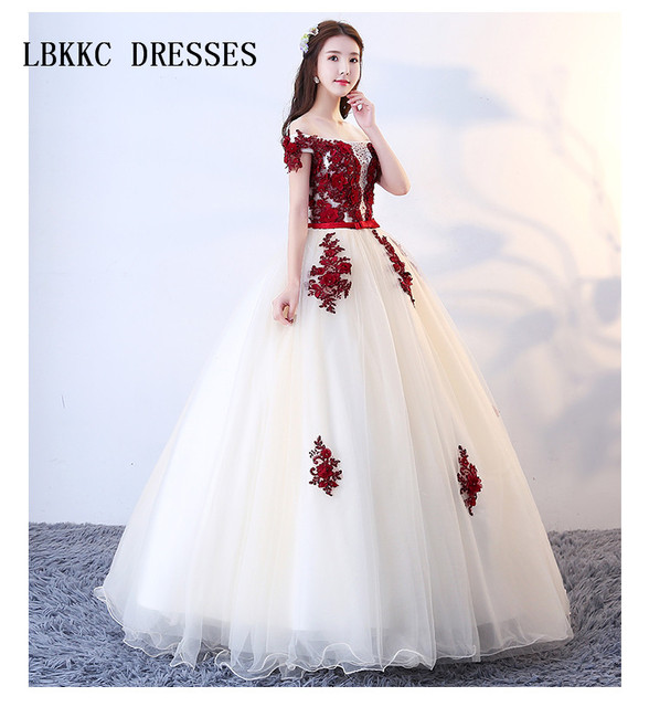 Off The Shoulder Champagne With Red Lace Quinceanera Dresses Elegant Sweet  16 Dresses Ball Gowns Vestido De Quinceanera Dress d15a7c48dd48
