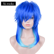 3047 X wigs Synthetic Dramatical Murder DMMD Seragaki Aoba Cosplay Costume Party Wig Two Tone Blue Ombre Hair