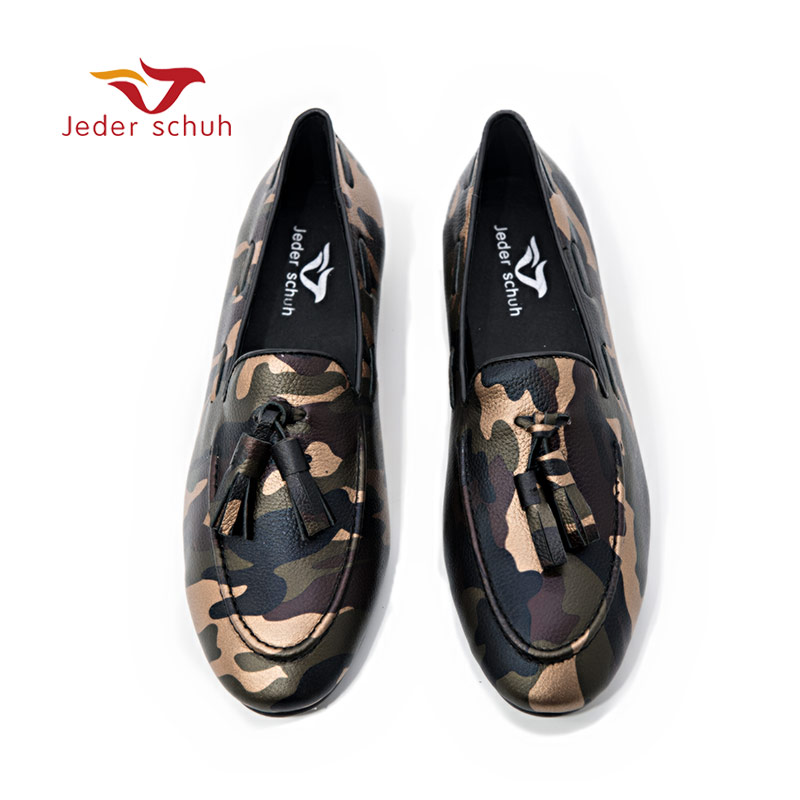 Jeder Schuh Men s Handmade loafers Shoes Gold stamped Camouflage Design Fashion Party Style flats Shoes