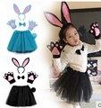 Fiesta de halloween para niños cosplay negro azul gris blanco rosa guantes de conejo de conejito del oído diadema tutu pajarita tail set costume