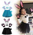children halloween party cosplay black blue grey white pink rabbit bunny ear headband gloves tutu  bow tie tail costume set
