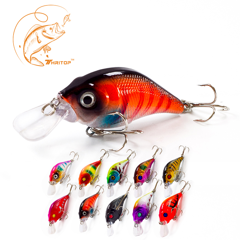 Thritop New Hard Fishing Lures Hot Sales 75mm 10g Hoge kwaliteit TP008 10 Diverse kleuren Topklasse Crank Fishing Baits