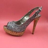 Silver Sequins Slingbacks Women Pumps Peep Toe Platform Heels Glitter Shoes Women Sapato Feminino Wedding Shoes With Sequins