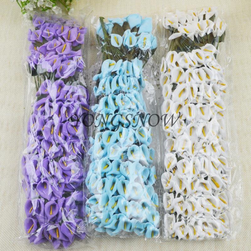 144pcs lot mini delicate calla lily artificial paper for Artificial flower for wedding decoration