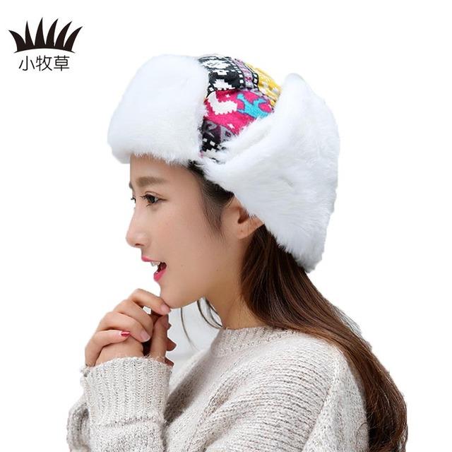 Ruso trapper sombrero aviator trooper orejeras esquí sombrero de las mujeres cap con scarve invierno caliente orejeras de las mujeres de punto bombardero caps