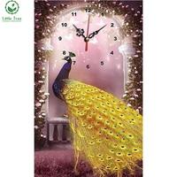 5d strass borduren gouden pauw alarm wandklok kruissteek volledige gear diamant schilderen diamant ambachten woondecoratie