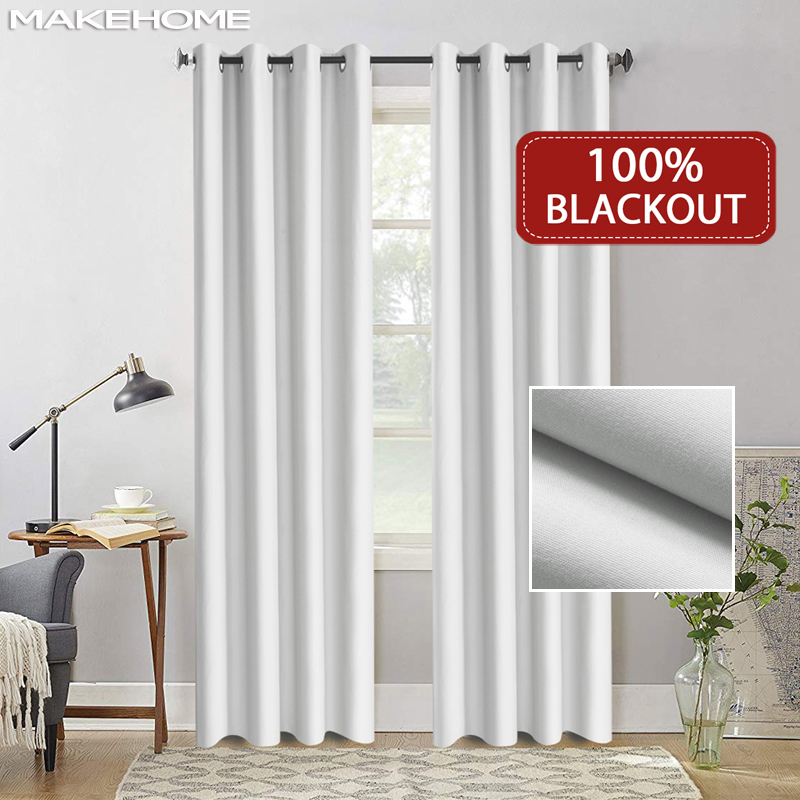 Flocked 100% Blackout Window Curtains Thermal Solid Curtain For Bedroom Living Room Fire Retardant Fabric Drapes-in Curtains from Home & Garden