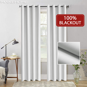 Image 1 - Flocked 100% Blackout Window Curtains Thermal Solid Curtain For Bedroom Living Room Fire Retardant Fabric Drapes