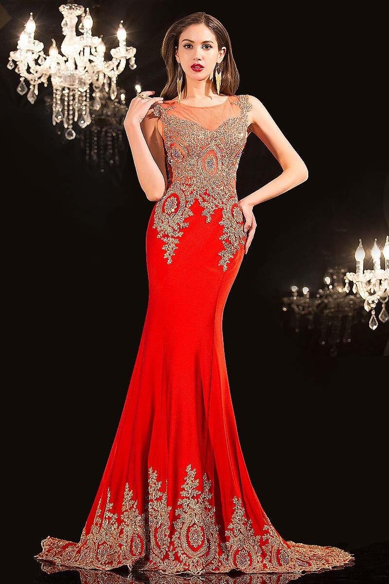 2018 Luxury Real Bilder Schwarz Rot spitze Formal Appliques Pageant prom Party kleid Sheer Neck Indien Arabisch brautjungfer kleider