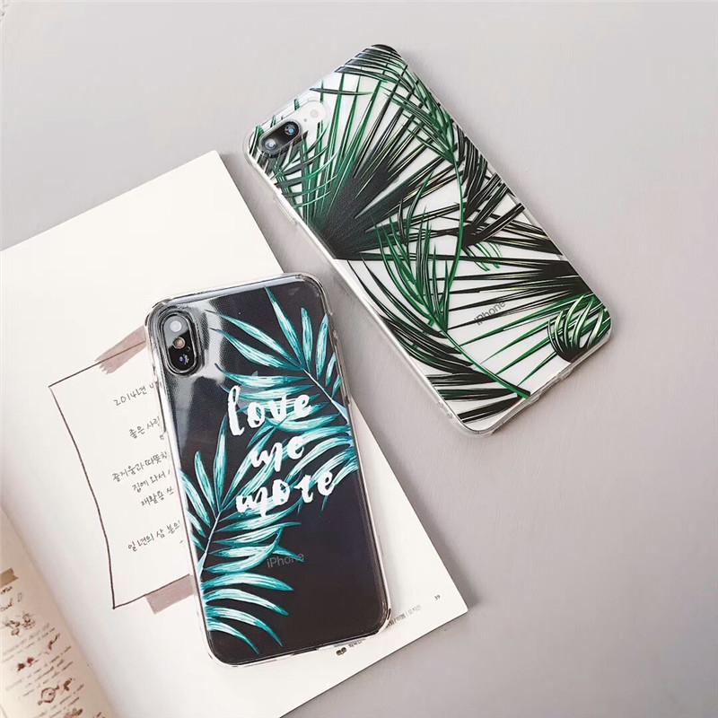 Summer Palm Leaf Phone Case for iphone 7 Case for iphone 6 6s plus 7 8 plus X Accessories Clear Back Cover Soft TPU Letter Capa