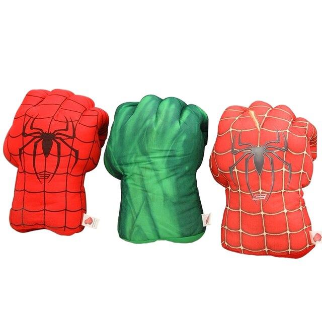 """1 par 11 """"28 cm Incrível Hulk & Luvas Superhero Spiderman Punching Boxe Punho Mãos Quebra de Pelúcia Brinquedos de Pelúcia"""