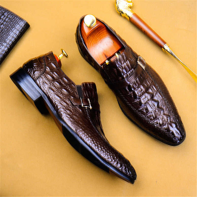 Phenkang hombres zapatos formales zapatos oxford de cuero genuino para hombres negro 2019 Zapatos de vestir zapatos de boda slipon cuero brogues