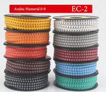 10Roll/Lot EC-2 4mm2 0-9 Letter Print Pattern PVC Flexible Arabic Numeral Sleeve Concave Tube Label Wire Network Cable Marker