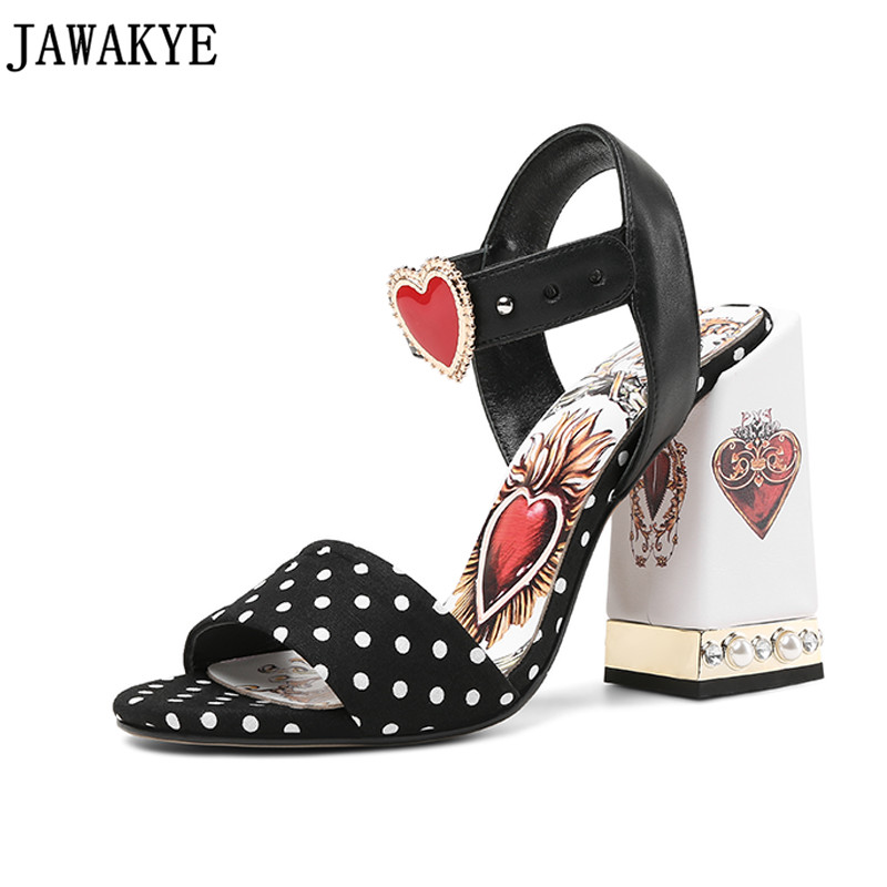 Pearled crystal black round dot High Heels Gladiator Sandals love heart flowers embellished Women Pumps summer