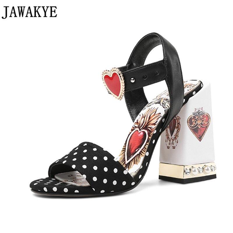 Pearled crystal black round dot High Heels Gladiator Sandals love heart flowers embellished Women Pumps summer wedding shoes plus dot mesh yoke flounce embellished bodysuit