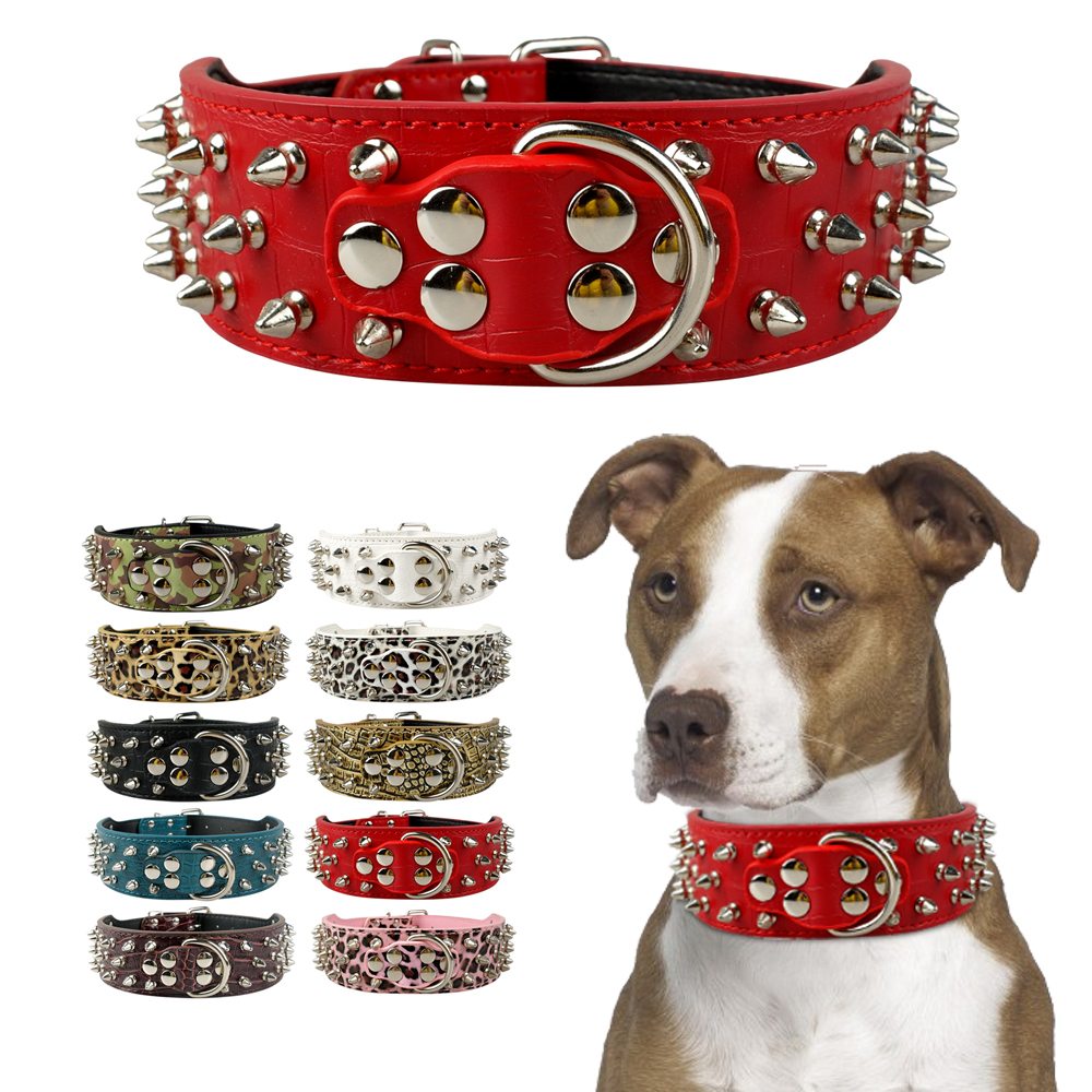Pet Dog Collar Læder Kraver til Pitbull Spiked Studded Dogs Kraver til Medium Large Pets Pit Bull Dog