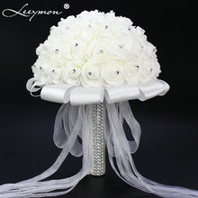 2017 Bridal Wedding Bouquet Artificial Wedding Decoration Flower Beads Crystal Silk Rose Wedding accessories Free Shipping