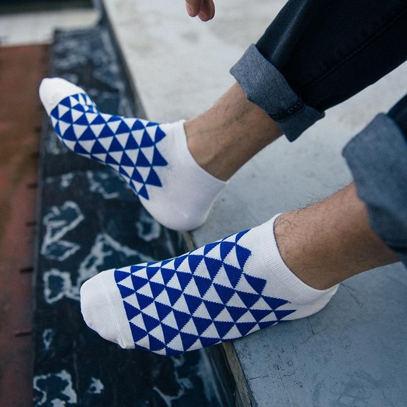 2017 4 Pairs / lot Spring Summer Cotton Men Socks Short Socks blue white Color Invisible Male 17-04-050