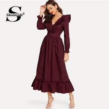 Sheinside Burgundy Backless Wrap Party Dress Women 2019 Spring V Neck Ruffle Dresses Elegant Bishop Sleeve A Line Maxi Dress(China)
