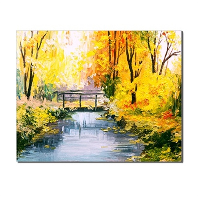 Landscapes Autumn River Fresh Scene Frameless Canvas Oil Painting Poster Living Room Wall Art Unique Gift Printed For Home Decor