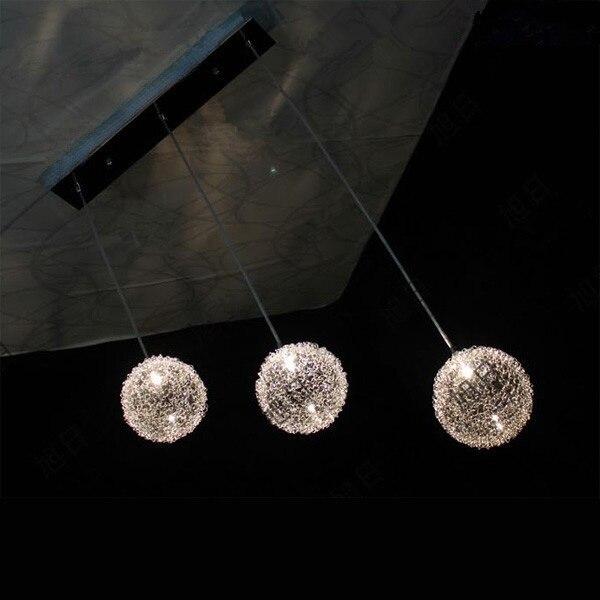 3 lumières moderne en Aluminium fil verre boule lustre lampe bricolage maison déco salon G4 LED ampoule lustre luminaire