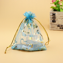 13x18cm Lake Blue Coronary heart Bronzing Organza Jewellery Standard Baggage Low-cost Organza Pouches Embalagens Para Doces 500pcs/lot Wholesale