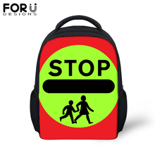 FORUDESIGNS Safety Sign Printing School Bag For Baby Boy Girl Black Yellow Small Backpack Kids Children Kindergarten Bookbag гидрофутболка детская quiksilver all time boy ls safety yellow