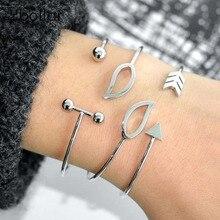 3pcs/Set Gold/Silver Bracelet Set Women Fashion Leaf Arrow Barbell Bangles Jewelry Gift