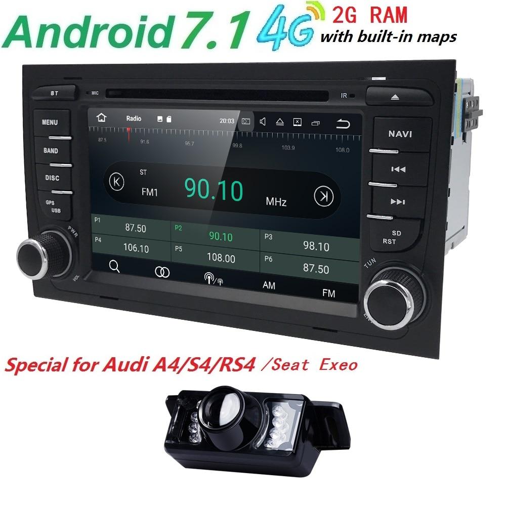 Freie Kamera 1024*600 QuadCore Android 7.1 Auto-DVD-Spieler für Audi A4 2002-2007 S4 RS4 8E 8F B9 B7 RNS-E (DTV DAB + Optional) 2 GRAMM