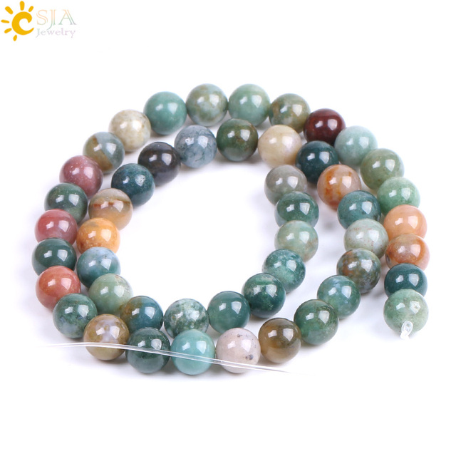 Csja 8mm Natural Indian Agates Onyx Beads Round Gem Stone Beaded For