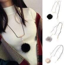 Fashion Ledy Fur Ball Pendant Necklace Rhinestone Long Sweater Chain Necklaces