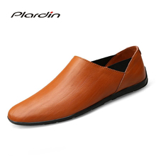 Plardin New Four seasons Fashion Plus Size Man Split Leather soft Comfortable Breathable Dress Concise Leather