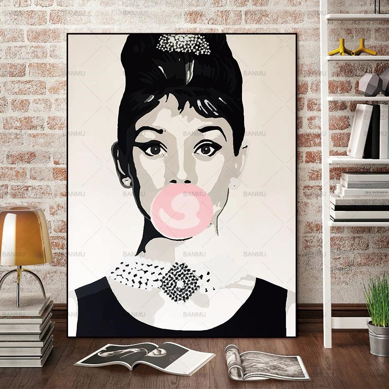 Canvas Painting Wall Art Pictures home decor Wall poster decoration for living room prints Audrey Hepburn on canvas no frame