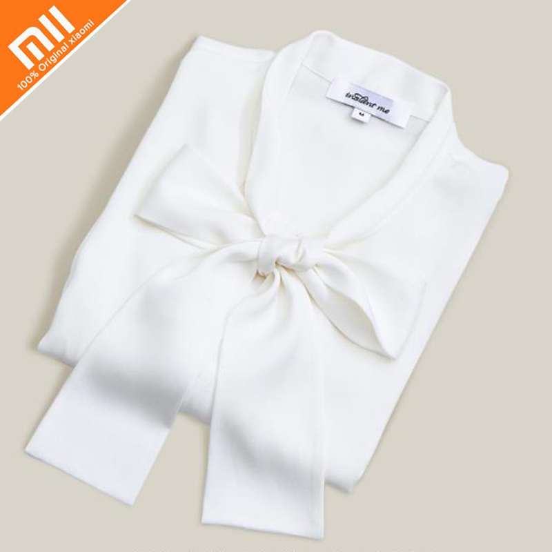 Original xiaomi mijia instant me100% silk bow long-sleeved shirt 92% silk fashion professional women with suit shirt brilliant светильник настенный omega