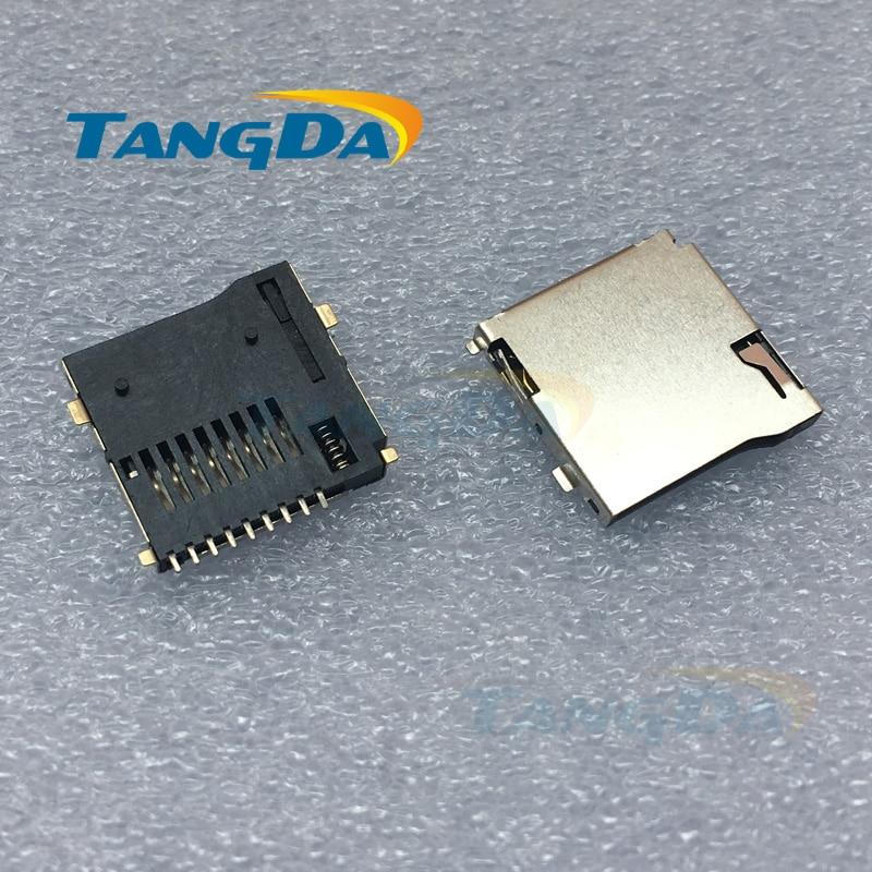 Tangda High quality tf card connector microsd card slot push-push micro sd 9P 9pin Copper welding W.
