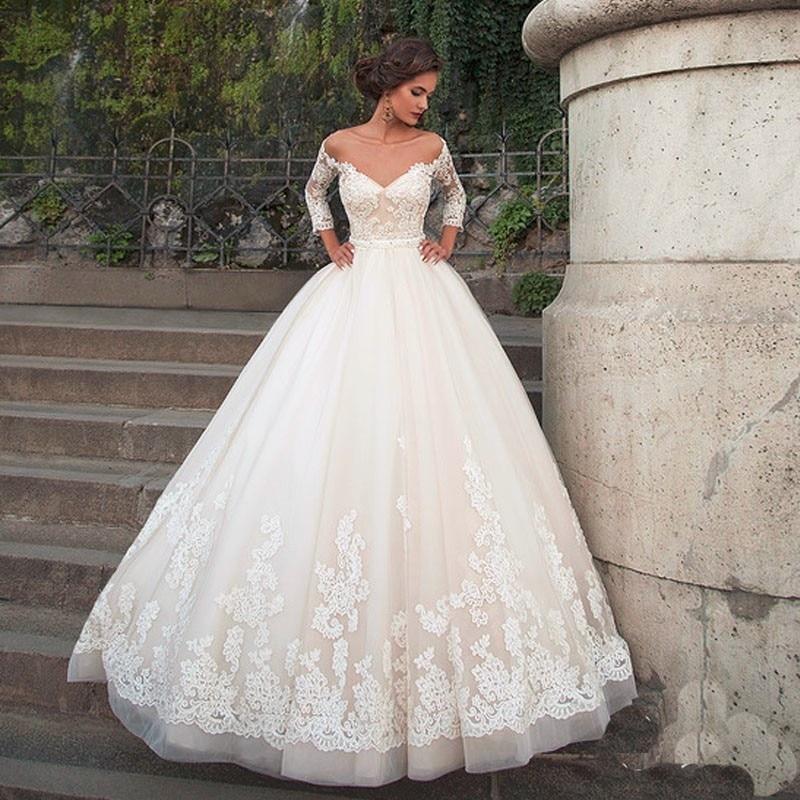 d3848ac3b3 Elegante 2017 Nuevo Blanco de Los Appliques vestido de Bola Vestido de Novia  Vestido de Novia vestido de noiva vestidos de novia Robe De Mariage  casamento ...