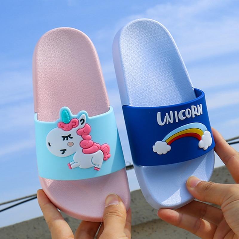 Kids Unicorn Slippers Animal Cartoon Shoes For Children's Flip Flops Indoor Bathroom Slippers Anti-skid Cartoon Beach Slippers
