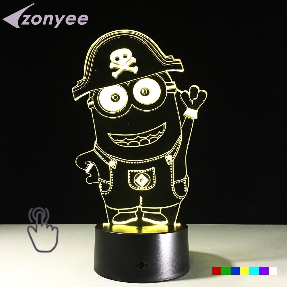 7 color changing children39s night light led lamp mood 3d minions acrylic cheap mood lighting
