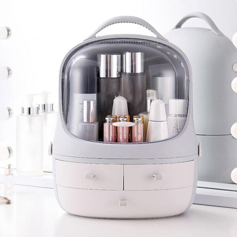 Portable étanche maquillage boîte à cosmétiques couverture de poussière boîte organisateur tiroirs en plastique cosmétique boîte de rangement bijoux conteneur Indoo