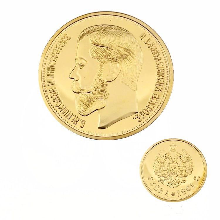 Золотая монета с 24-каратным золотым покрытием, 1901 российский рубль, 10 рублей, Прямая поставка