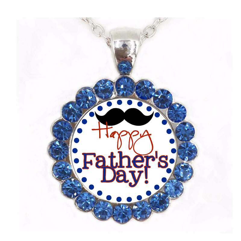 Great Father Men Jewelry Full Crystal Necklaces & Pendants Happy Fathers Day Choker Necklace The Best Gift for Father Dad