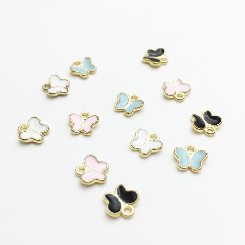50 PC Little Cute Butterfly Shape Charm DIY Jewelry Bracelet Necklace Pendant Charms Gold Tone Enamel Floating Charm(China)
