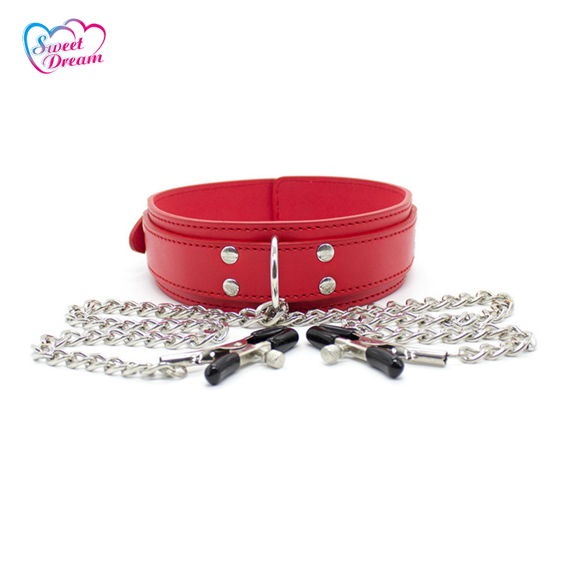 PU Leather Slave Pin Buckle Neck Collar Cuff with 1 Pair Nipple Clamps Fetish Bondage Sex Toys For Couples Sex Products DW-413