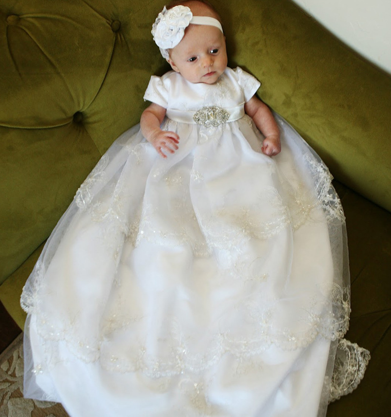 2016 Manual Noble Baptism Gown Floor Length 0-24 Month Christening Dress Lace Edge Baby Infant Dress White/Ivory With Headband